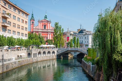 LJUBLJANA, SLOVENIA - 7 AUGUST, 2018: View of the centre square of Ljubljana in Slovenia