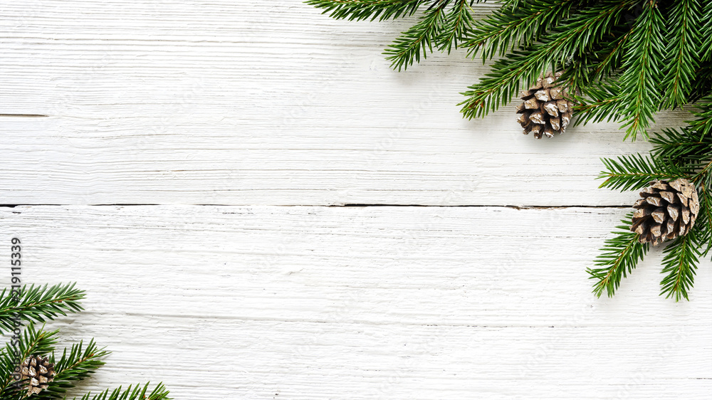 Fototapety, obrazy: Christmas Fir tree branches and pine cones background