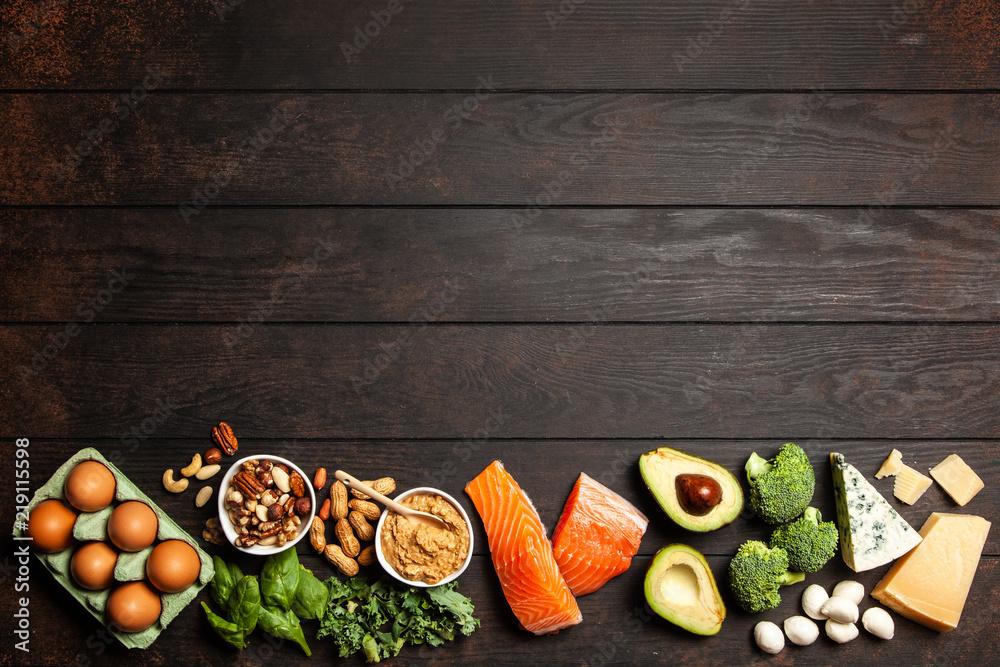 Fototapety, obrazy: Keto diet food ingredients
