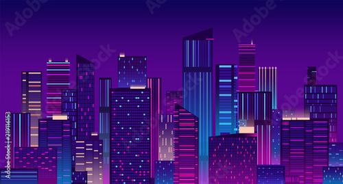 Montage in der Fensternische Violett Night city. Colorful new york urban background. Modern cityscape panorama vector illustration