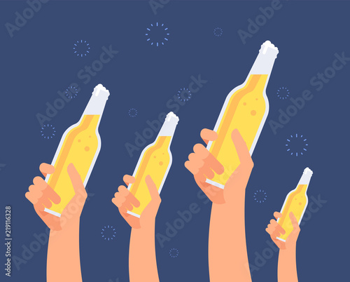 Hands with beer bottles Wallpaper Mural