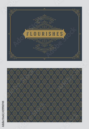 Fototapety, obrazy: Vintage ornament greeting card vector template.