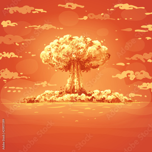 Fotografie, Obraz Powerful explosion and sky