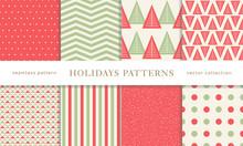 Winter Holidays Seamless Patterns