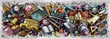 Fototapeta Młodzieżowe - Cartoon cute doodles School banner design. Colorful illustration
