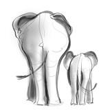 Matka słonia i jej dziecko spacery - 219119566