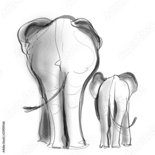 Deurstickers Art Studio Mother elephant and her baby walking