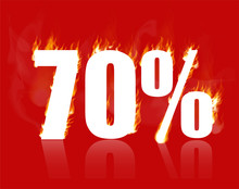 70 Percent Sale, Hot Banner. Vector Illustration. Burning Inscription With Smoke, 70%. Advertising Poster Layout With Flame ,red Background. Seventy Percent