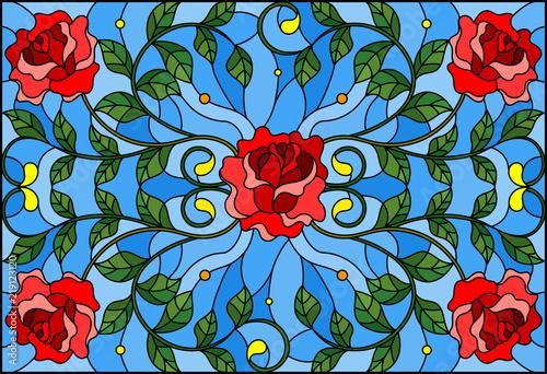 ilustracja-w-witrazu-styl-z-czerwieni-roza-rozgalezia-sie-na-blekitnym-tle