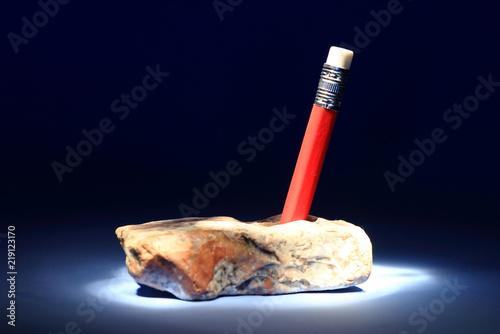 Pencil in stone like king Arthur sword Canvas Print