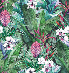 Fototapeta Inspiracje na lato Seamless pattern with tropical leaves and flowers. watercolor pattern with white orchid phalinopsis. Botanical background
