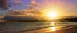 canvas print picture - Caribbean sunset on tropical beach. Sky sunset.