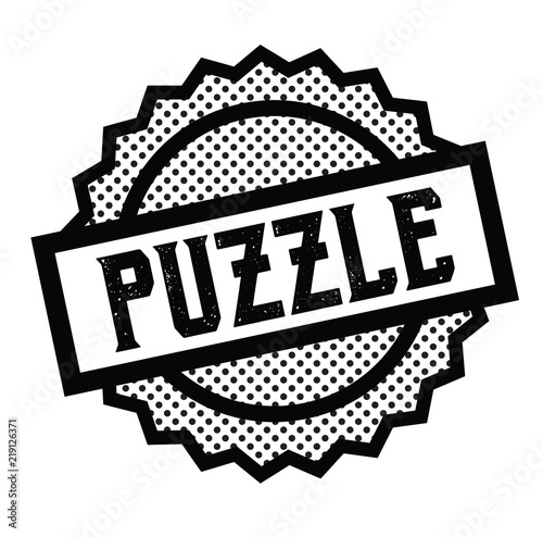 Photo puzzle stamp on white