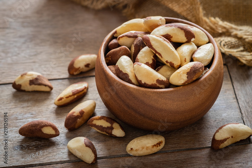 Brazil nuts in wooden bowl
