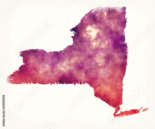 Akwarela mapa stanu Nowy Jork USA przed białym tle