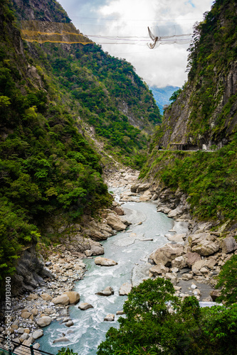 Fotografia, Obraz View of Taroko gorge during Yanzihkou hiking trail in Taroko national park Huali