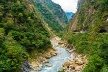 View Of Taroko Gorge During Yanzihkou Hiking Trail In Taroko National Park Hualien Taiwan