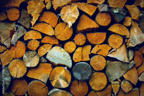 Foto op Aluminium Brandhout textuur firewood abstract background