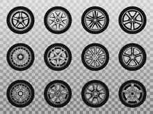 Isolated Wheel, Tyre And Tire Collection Of Icons.