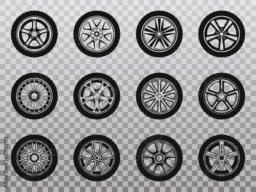 Isolated wheel, tyre and tire collection of icons. Wallpaper Mural