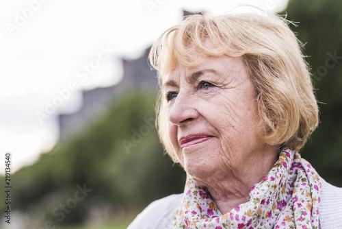 Portrait of blond senior woman