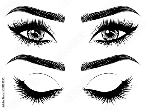 Fototapeta Eyes with long eyelashes and brows