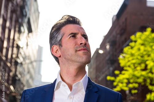 Fotografie, Obraz  Single Caucasian Business Man Enthusiastically Poses For Picture