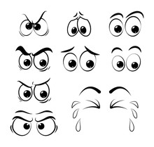 Cartoon Eyes Set - Sad, Angry, Cry  Isolated On White Background