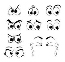 Cartoon Eyes Set - Sad, Angry,...