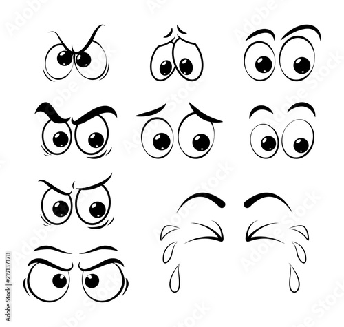 Canvas Print cartoon eyes set - sad, angry, cry  isolated on white background