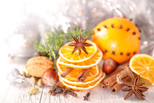 Dry Orange Slice With Cinnamon, Christmas Spices Background
