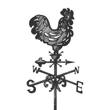 Weather Vane Engraving Vector Illustration