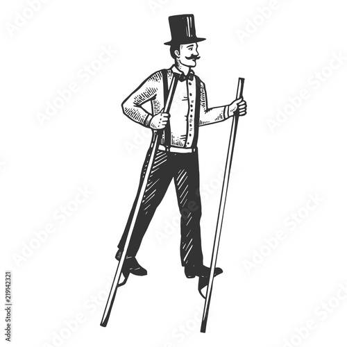 Man on stilts engraving vector illustration Wallpaper Mural