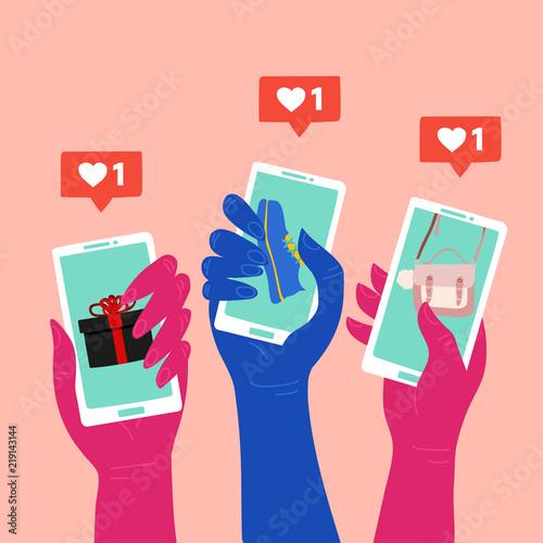 Fotografie, Obraz  Social media marketing reaching potential customers