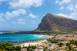 Beautifu panoramic view of the Italian sea town and emerald lagoon San Vito Lo Capo, Sicily