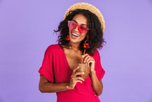 Happy African Woman In Dress, Straw Hat And Sunglasses