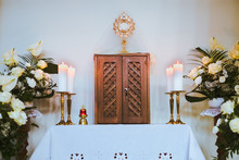 Holy Eucharist Above The Wooden Box In Church During Christmas Fasting