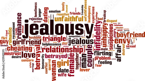 Fotografie, Obraz Jealousy word cloud