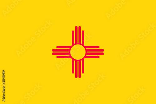 Fototapeta premium Flaga wektor ilustracja stanu Nowy Meksyk, Stany Zjednoczone Ameryki