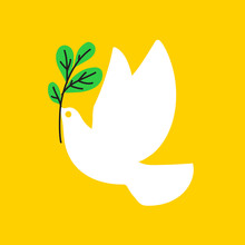 Peace Dove. Flat Style Vector Illustration Of White Pigeon With Olive Branch On Yellow Background