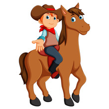 Vector Illustration Of Little Cowboy Riding A Horse