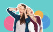 canvas print picture - people, fashion and friendship concept -magazine style collage of happy teenage girls having fun and making faces over colorful background