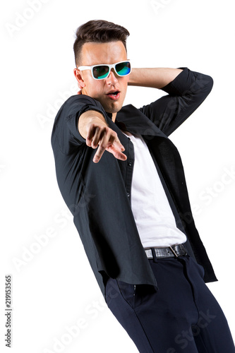 Fotografie, Obraz  Portrait of a very excited gesticulating young man, isolated on white background