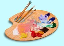 Wooden Art Palette With Blobs ...