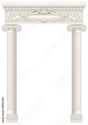 Antique white colonnade with old Ionic columns Canvas Print