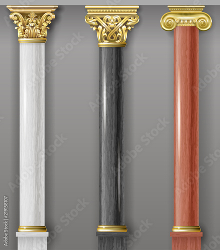 Set of classic gold and marble columns Fototapete