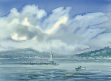 Geneva Lake Landscape With Clouds And Mountains Watercolor
