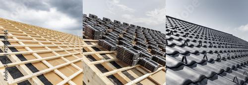 Fototapeta Neues Dach Vorher Nachher obraz