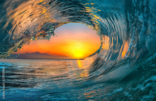 Wall Murals Green blue Sea water ocean wave