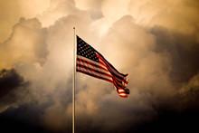 The American Flag Flies High A...